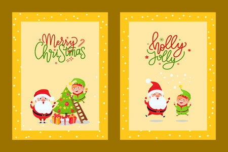 New Year greetings from Santa Claus and Elf, decorating xmas tree, jumping up. Merry Christmas cards with holiday spirit and cartoon character, vector