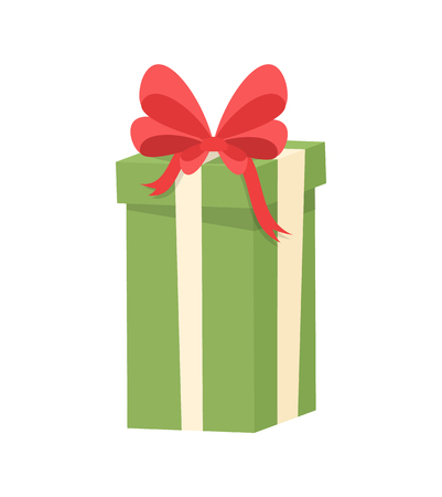 Green shopping box decorated by red silk tape and topped by bow, vector Christmas surprise in package isolated on white. Wrapped gift in cardboard  イラスト・ベクター素材