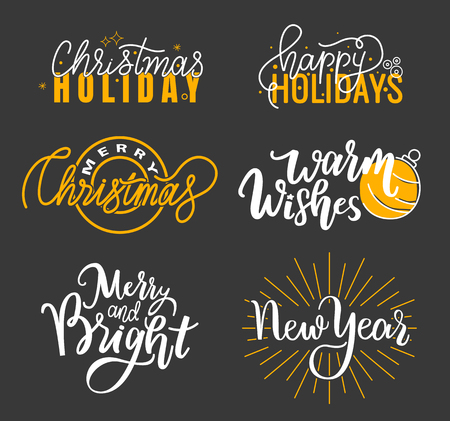 Happy Holidays and best wishes, merry and bright Christmas, holly jolly New Year handwritten doodles, scripts, calligraphic inscription for greeting cards. White text on black background 스톡 콘텐츠 - 126844076