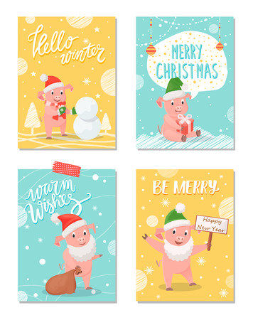 Hello Winter, Merry Christmas Greeting Cards Set Illustration