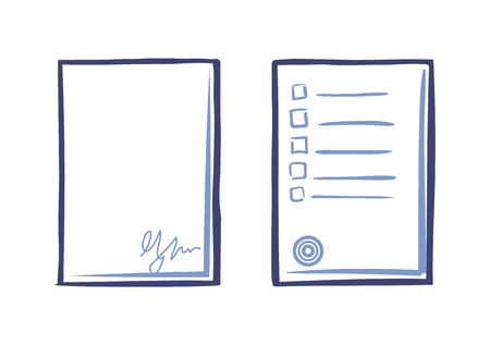 Empty Sheet of Paper with Signature and Tips List Ilustração