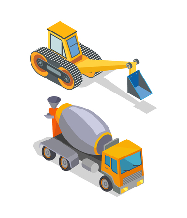 Cement concrete mixer and excavator industrial machinery isolated icons vector. Bulldozer loader, digger with shovel, backhoe industry mechanisms