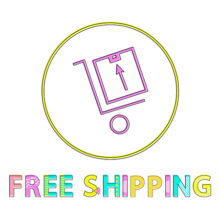 Free shipping vector illustration, linear outline. Cart with luggage icon, gadget concept and website design simple line symbol in circle contour Stock Illustratie