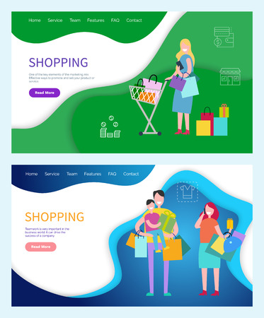 Shopping Woman and Man Carrying Bags Returning Home Stock Vector - 113721086