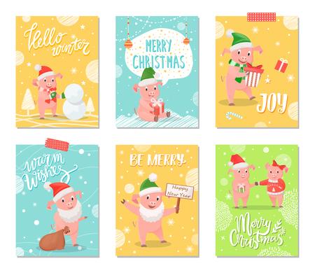 Hello Winter, Joy of Winter Merry Christmas Cards