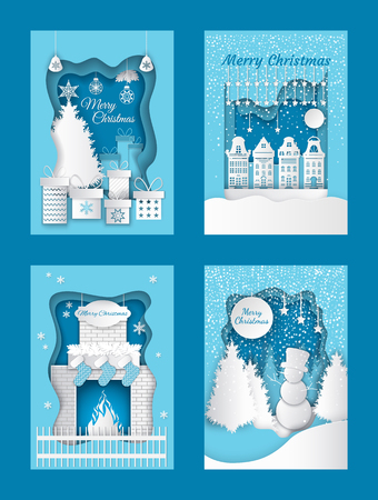 Merry Christmas cutout, paper cut out of winter images vector. Snowman in pine wood, fireplace with sock for Santa Claus presents. Town with buildings