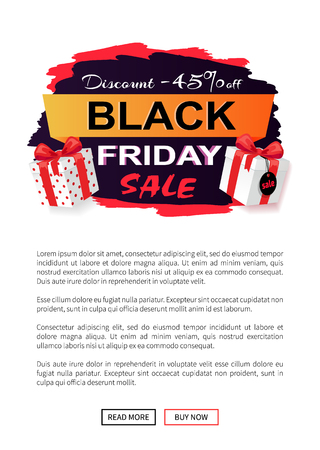 Black Friday sale 45 percent off promo sticker, advertising coupon with gift boxes. Wholesale price tag icon in dark and red, packages on web poster with text
