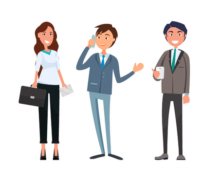 Man meeting with businesswoman and businessman vector. Boss director talking on phone, business call consultation. Workers company partners associates