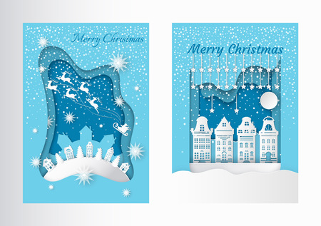 Merry Christmas greeting postcards with houses and spruces on hill, Santa and deer riding in sky. Homes and snowy trees, wintertime landscapes vector