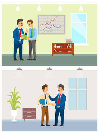 Working task and orders, boss and office employee. Manager and clerk, documents in folder, company interior, financial company vector illustrations.