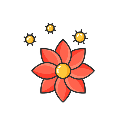 Allergy to flowers blooming, allergic reaction isolated icon. Flourishing of flora, hypersensitivity of human body at blossom in spring or summer