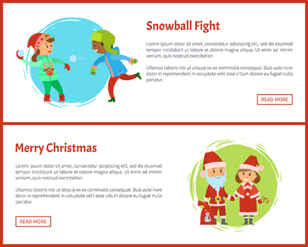 Snowball fights and merry Christmas characters Snow Maiden and Santa Claus. Holidays, children playing snow balls vector. Boy and girl, winter activity