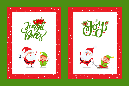 Happy New Year Cards with Santa Singing Carols. Vector cartoon characters Father Christmas and Elf singing Jingle Bells song and sending holiday spirit