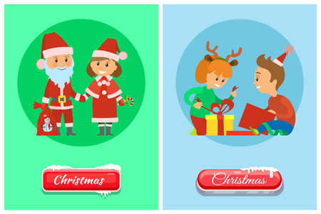 Christmas holidays, children opening presents vector. Children unpacking gifts, Santa Claus and Snow Maiden Xmas cartoon characters isolated on circle