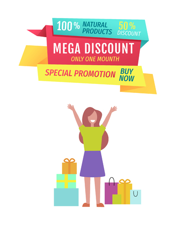 Mega discount this month perfect offer poster. Woman happy because of shopping price reduction. Boxes and gifts products bought on lower cost vector Illustration