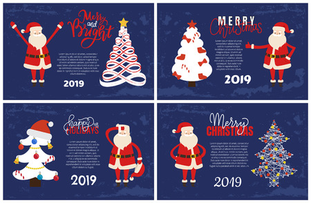 Merry and bright greeting card with Santa holding hands up. Vector abstract spruces, topped by star. Christmas and New Year 2019 postcard, Xmas tree