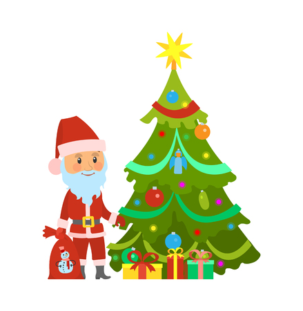 Christmas winter holidays, Santa Claus and decorated pine tree vector. Fir with garlands baubles, character holding sack with presents for children