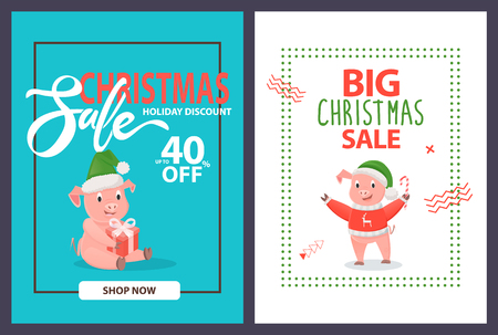 Big Christmas sale up to 40 percent off, holiday discounts posters, shop now. Pigs and piglets in warm winter hat with gift box and candy, in frames vector