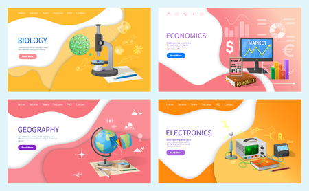 Economics and geography school subjects lessons vector. Globe model and compass, electronics technology and machine making, biology studies classes