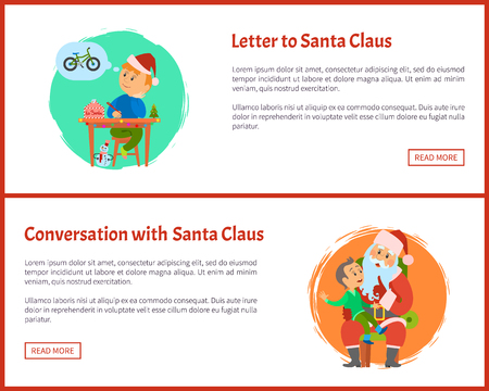 Letter to Saint Nicholas and conversation with Santa Claus vector posters, Christmas web posters, text sample. Boy tells about dreams and writes mail