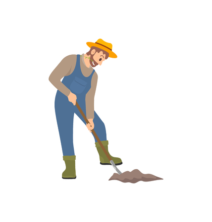 Farming person working on land isolated icon vector. Male wearing uniform and hat digging ground with rural instrument. Planting cultivating farmer  イラスト・ベクター素材