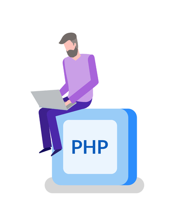 PHP button, programming or coding, man programmer with laptop. Online work, Internet digital technologies, coding language, developer vector illustration