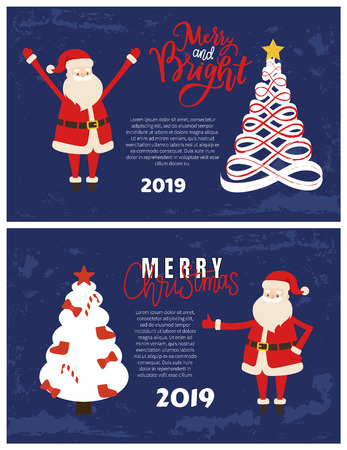 Abstract spruces, topped by star. Merry and bright greeting card with Santa holding hands up. Christmas and New Year 2019 postcard, Xmas tree vector
