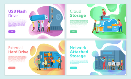 USB flash storage cloud, attached network memory posters set. People working on improving devices, media data store on hard drive disk of laptop pc Ilustrace