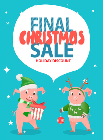 Final Christmas Sale Holiday Discount with Pigs