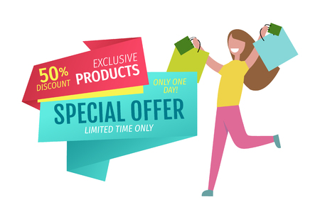 Special offer vector banner with person shopping Illustration