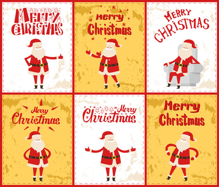 Merry Christmas with Santa Claus posing in six images. Standing cheerful man in red clothes and white beard. Greeting colorful paper card in frame vector