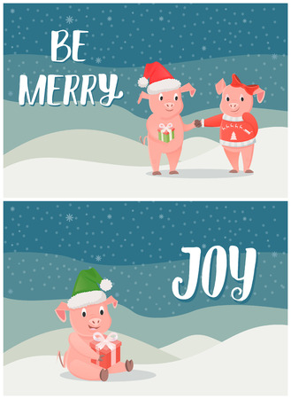 Be merry, winter holidays joy postcards with pigs boy and girl and piglet sitting with gift box vector. Snowy night landscape, holly Christmas eve