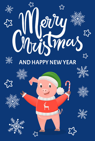 Pig in Red Sweater with Reindeer, Green Hat, Candy Ilustrace