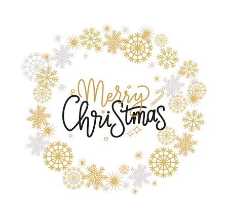 Merry Christmas festive greetings, calligraphic print with winter season wishes. Best wishes on Xmas, lettering vector wreath tag with snowflakes