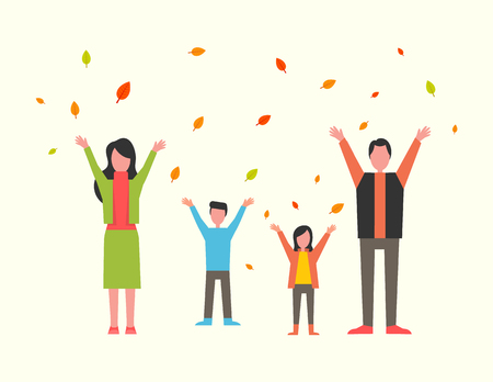 Family with kids playing with autumn leaves in park vector. Father and mother with children happy time together, fall season. Autumnal period outdoors