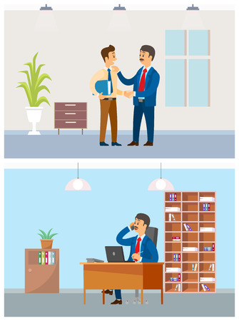 Boss talking on phone in office, coworkers in room vector. Chief praising employer, showing good planning strategy of company. Partners business calls