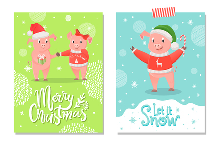 Merry Christmas and Let it Snow Postcards, Piglets Stock Vector - 113721197