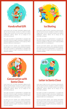 Letter to Santa Claus, handicraft presents poster vector. Conversation with winter character, boy making wish. Children figure skating on ice rink Illustration