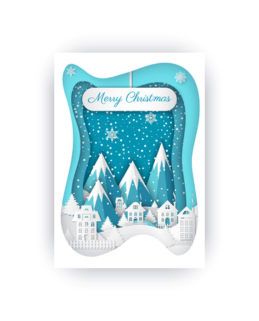 Merry Christmas greeting card template with rocky mountains and paper cut houses with fence. Brochure design with winter landscape, cut out homes vector