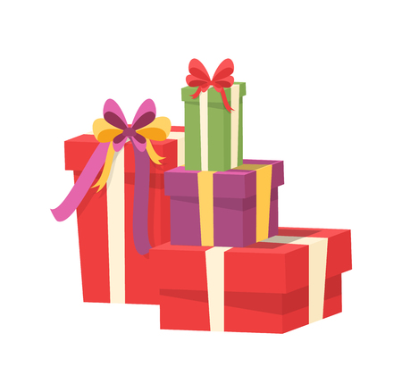Pile of vector packages in decorative paper, shopping packs with surprise inside, purple green red containers with bow. Christmas presents wrapped in gift boxes