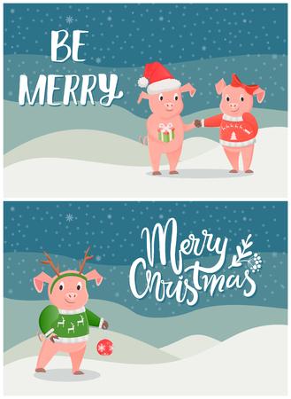 Merry Christmas Postcard Pigs on Snowy Landscape
