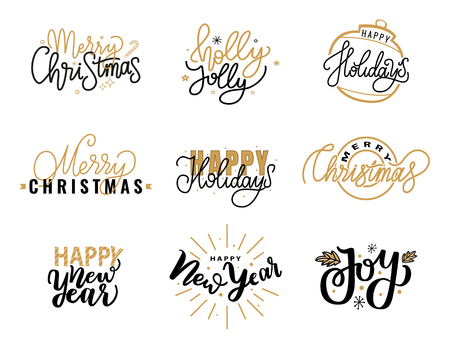Merry Christmas, Holly Jolly quote, happy holidays and New Year, joy greeting cards design, lettering font, stars and snowflakes. Black and gold inscriptions
