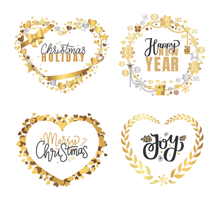 Holly Jolly, Merry Christmas, New Year, Happy Holidays and warm wishes, cookies for Santa lettering text, Xmas greeting cards with ornamental golden frames and heart form on white background