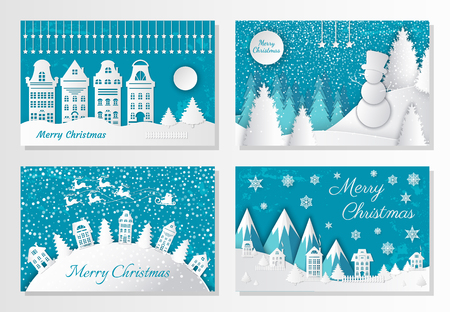 Merry Christmas greeting postcards mountains and city. Vector village with houses and spruces on hill, Santa and deer riding in sky. Forest with snowman, snowy trees