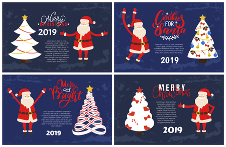 Merry Christmas greeting card on 2019 New Year holiday. Cookies for Santa, bright vector postcards set decorated Xmas tree and cartoon Father Frost