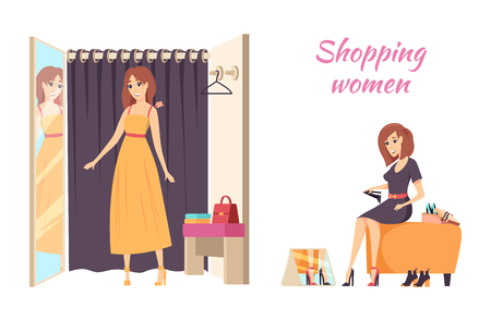 Shopping Women Female Trying Dress Poster Vector