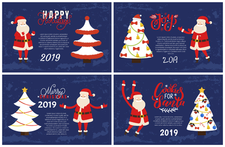 Joys, Happy holidays greeting cards on 2019 New Year party. Vector postcard sample, decorated Xmas trees topped by hat, bells and berries, Santa Claus