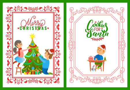 Children decorating tree on Merry Christmas postcard. Cookies for Santa greetings and boy writing letter with wishes to Santa Claus, vector in frame