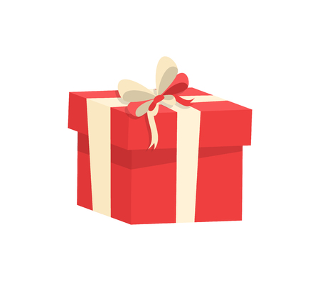 Shopping box decorated by silk tape and topped by bow, vector Christmas surprise in package isolated on white. Wrapped gift in cardboard container  イラスト・ベクター素材