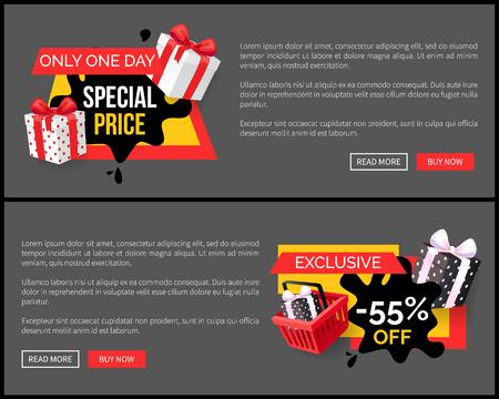 Special Shopping Offer Landing Page Design Banner Illustration